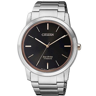 CITIZEN 星辰 簡約鈦金屬光動能腕錶(AW2024-81E)