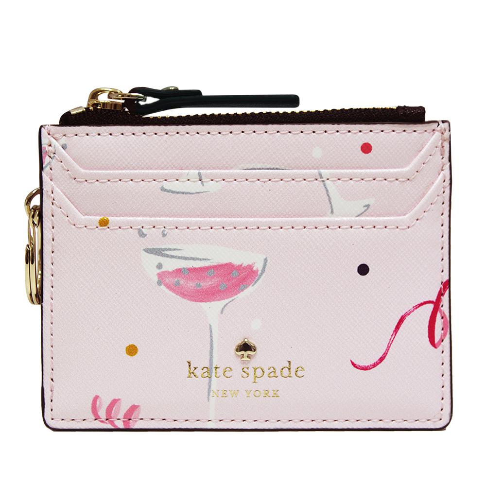 Kate spade dashing beauty 印花牛皮名片/鑰匙/零錢包-淡粉色
