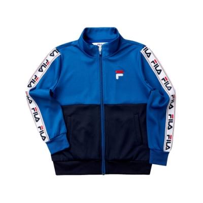 FILA KIDS 童針織立領外套-藍 1JKT-8435-BU
