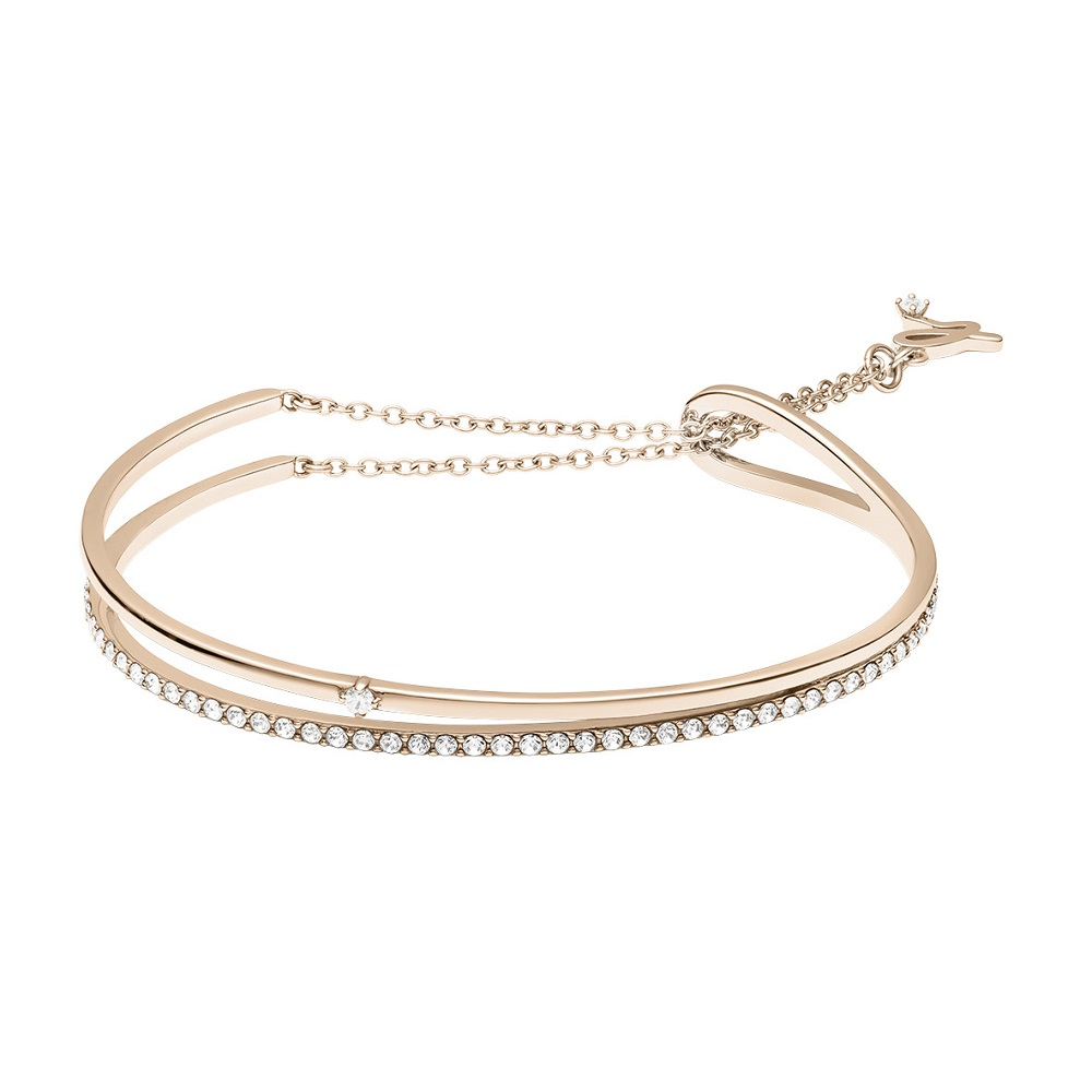 agnes b. 白鋼雙環滿鑽手環(玫瑰金)