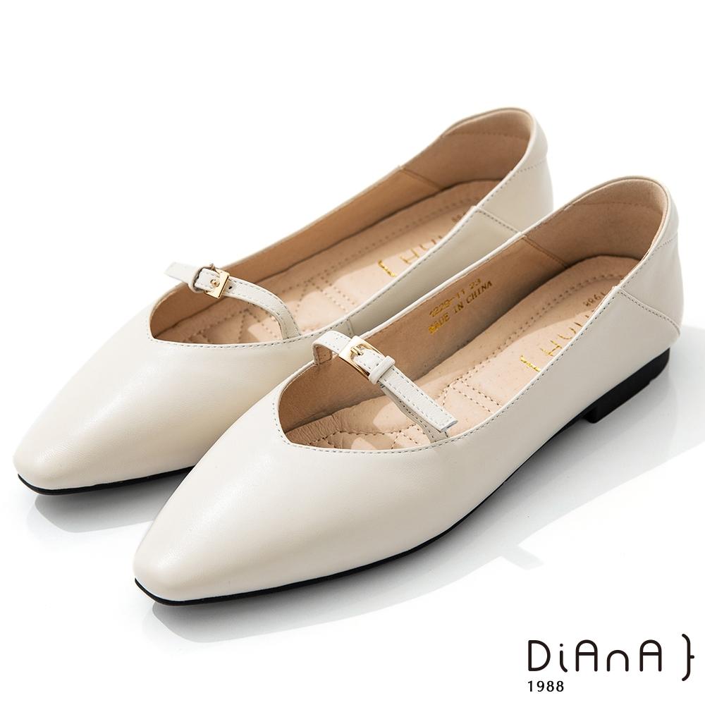 DIANA 1.7cm質感羊皮小皮帶釦飾方尖頭瑪麗珍娃娃鞋-簡約優雅-米