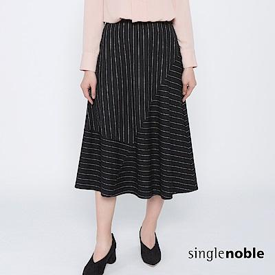 獨身貴族 幾何美學拼接條紋羊毛中長裙(2色)