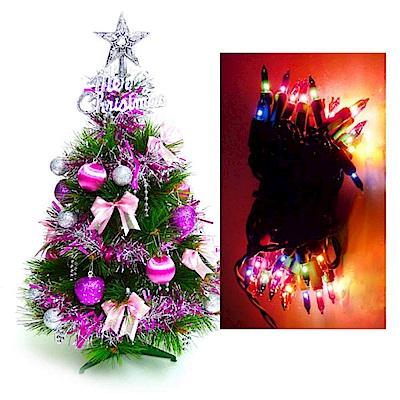 摩達客 2尺特級綠色松針葉聖誕樹(銀紫色系飾品組)+50燈彩色鎢絲樹燈串