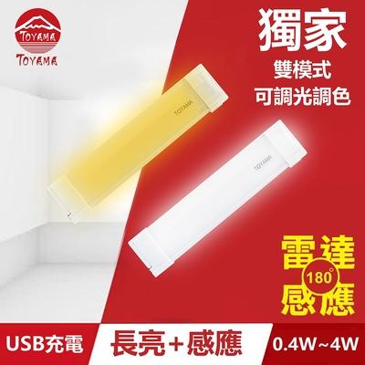 TOYAMA特亞馬TS3磁吸USB充電可調光雙模式長亮+感應LED燈0.4W~4W 雙模式(長亮照明、感應照明)