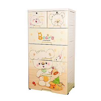 【Mr.box】大面寬-五層抽屜式附輪收納櫃(家有萌熊)