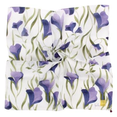Sybilla 典雅彩繪花葉純綿帕巾領巾-藍紫色