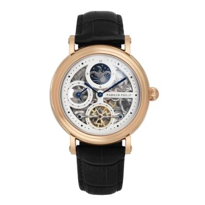 PARKER PHILIP派克菲利浦雙發條盒日月相機械腕錶(玫殻/白面/黑帶)