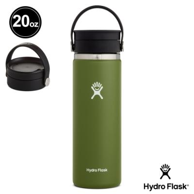 美國Hydro Flask 旋轉咖啡蓋寬口保溫鋼瓶591ml 橄欖綠