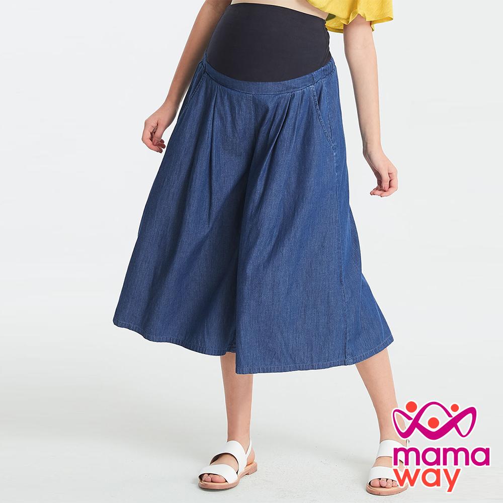 Mamaway涼爽寬版輕牛仔孕婦褲-牛仔藍