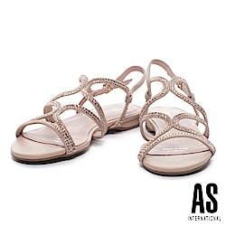 涼鞋 AS 奢華時尚細帶鑲鑽羊麂皮低跟涼鞋-米