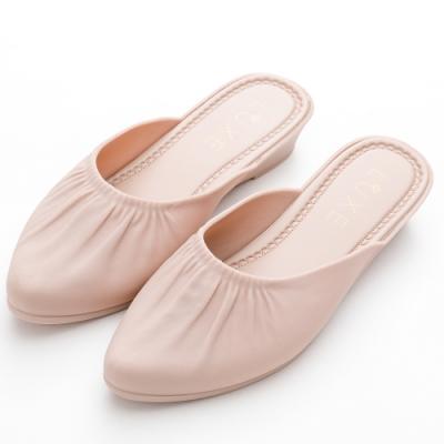 River&Moon穆勒 簡約微抓皺素面尖頭防水穆勒楔型鞋 卡其杏