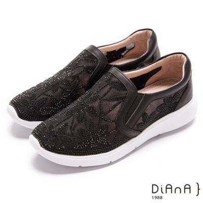 DIANA 透膚紡紗閃閃水鑽4CM輕量厚底休閒鞋-漫步雲端超厚切焦糖美人-黑