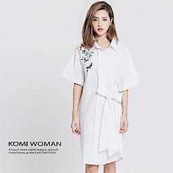 【KOMI】日本風純棉刺繡蝴蝶結襯衫洋裝
