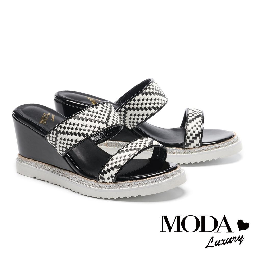 拖鞋 MODA Luxury 夏日配色編織楔型厚底拖鞋-黑