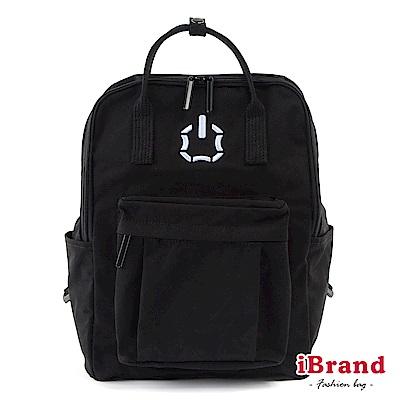 iBrand後背包 簡約素色輕旅行大開口手提後背包-黑色
