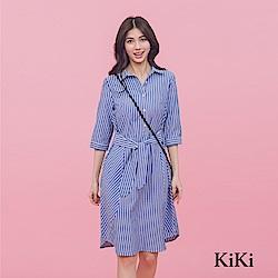 【KiKi】綁帶直條紋修身-洋裝(共二色)