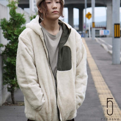 ZIP日本男裝 人工毛皮正反兩穿尼龍防風連帽夾克外套 (8色)