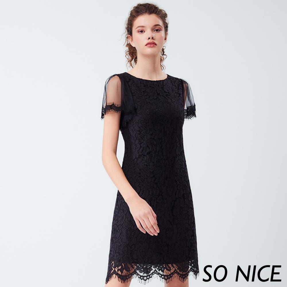 SO NICE優雅網紗袖車骨蕾絲洋裝