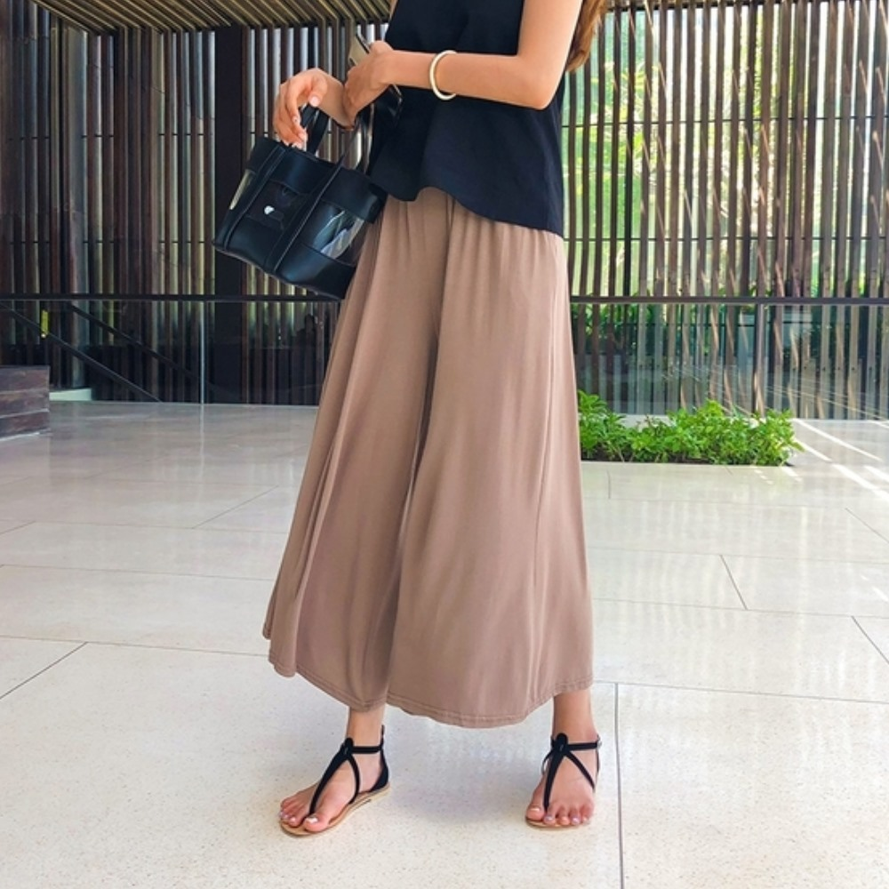 La Belleza垂墜感腰間鬆緊棉質素色寬版長褲裙