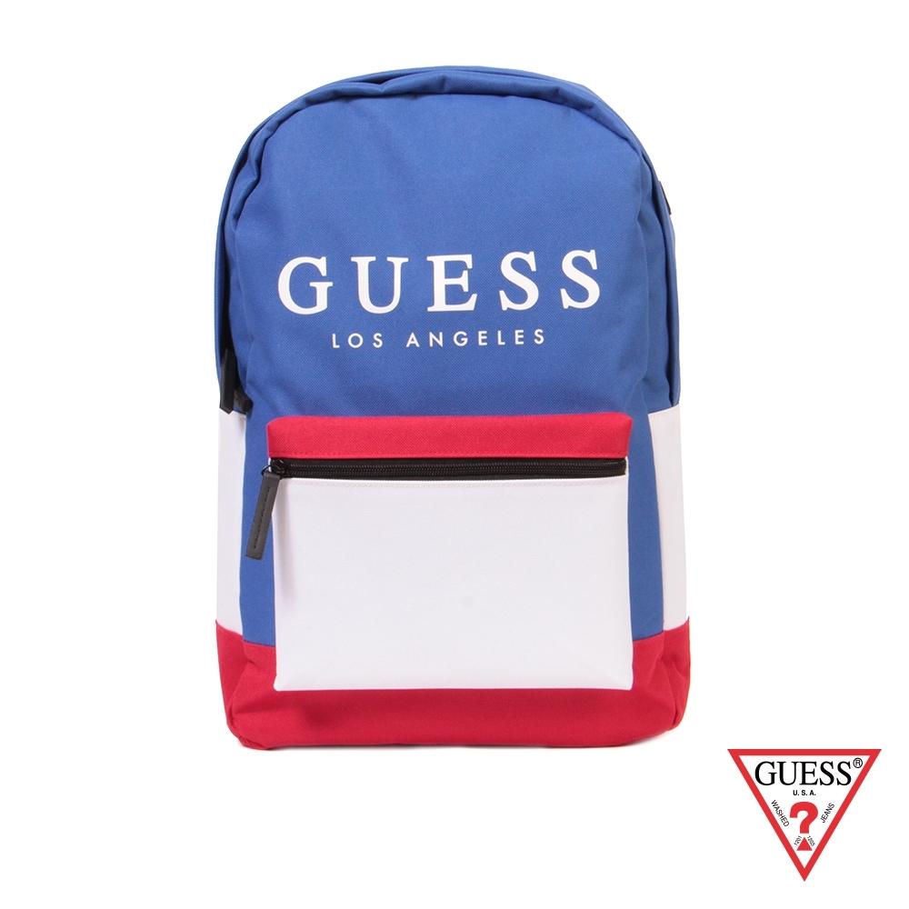 GUESS-男包-時尚撞色經典LOGO後背包-藍