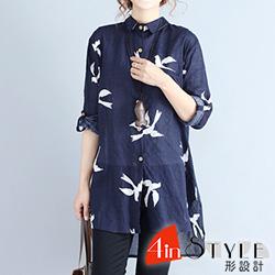 翻領小鳥印花排扣長袖襯衫 (藏青色)-4inSTYLE形設計