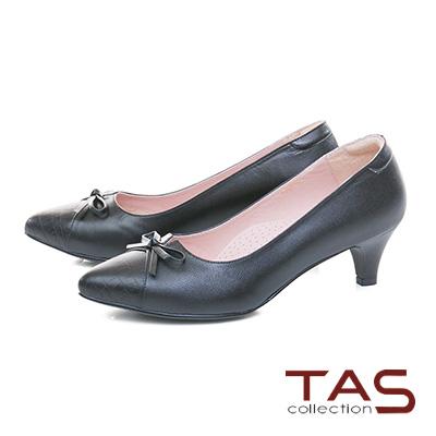 TAS鱷魚壓紋蝴蝶結v口尖頭粗跟鞋-實搭黑