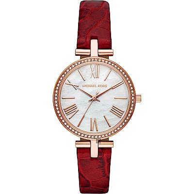 Michael Kors 紐約晶鑽時尚女錶(MK2791)-珍珠貝x紅/34mm