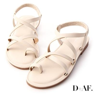 D+AF 舒適夏天.雙交叉套指軟Q底涼鞋*米白