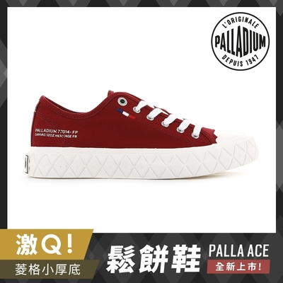 PALLADIUM PALLA ACE CVS格紋厚底帆布鞋-中性-紅色