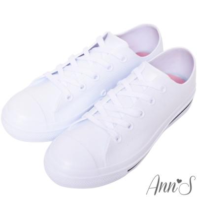Ann'S不說沒人知道-百搭布鞋款式防水雨鞋(版型偏大)-白