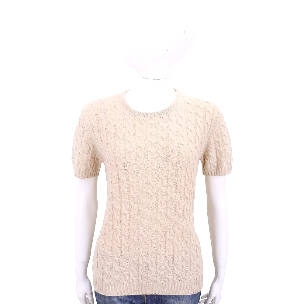 Max Mara 喀什米爾杏駝色麻花織紋短袖羊毛衫