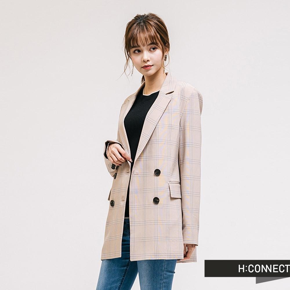 H:CONNECT 韓國品牌 女裝-氣質格紋翻領西裝外套-卡其
