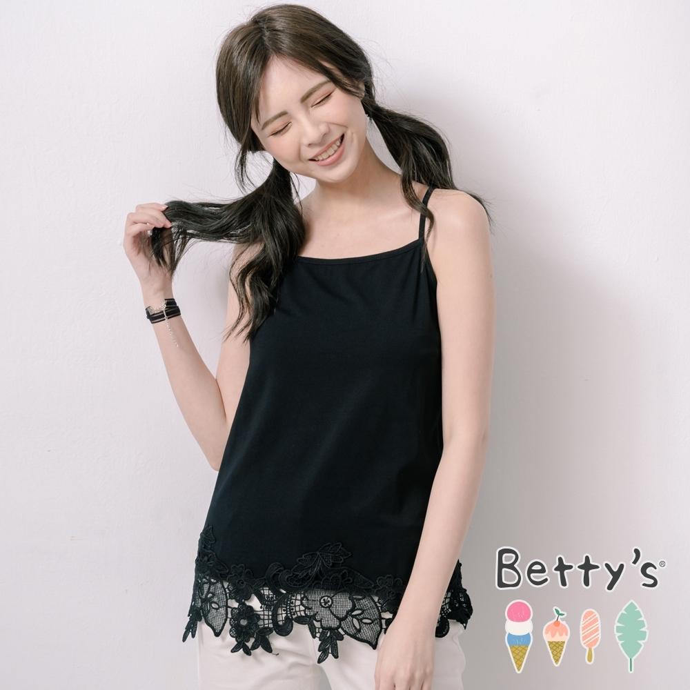 betty's貝蒂思 甜美蕾絲拼接細肩帶背心(黑色)
