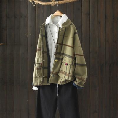 俐落中性風立領純棉格子外套寬鬆上衣-設計所在
