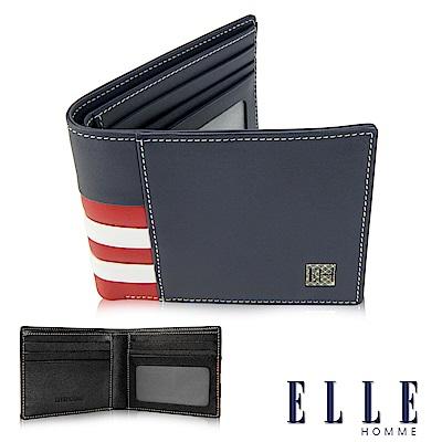 福利品ELLE 法式紅白藍系列 柔軟頭層皮短夾 多層鈔票/證件/名片格設計- 藍色