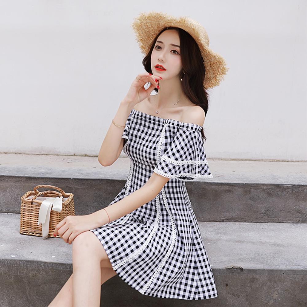 DABI 韓國風復古氣質一字領格子短袖洋裝