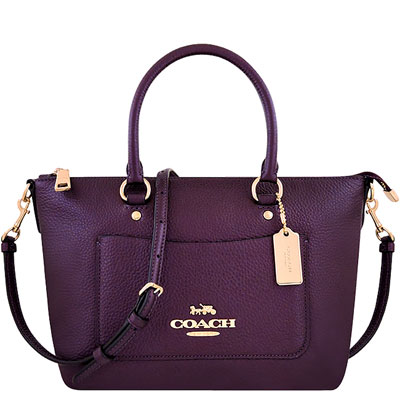 COACH 紫色光澤皮革手提/斜背兩用包