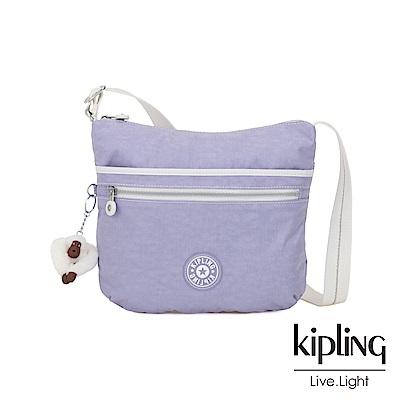 Kipling 法式丁香紫前拉鍊側背包-ARTO