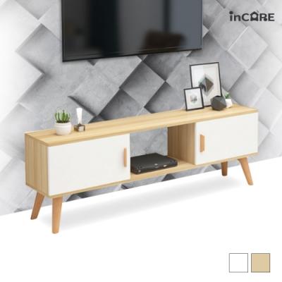 【Incare】北歐雙抽屜挑高電視櫃(140x30x50公分)-兩色可選