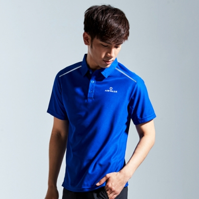 【AIRWALK】反光條設計吸排POLO衫-藍色
