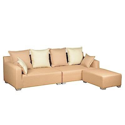 綠活居 納羅亞時尚防貓抓皮革L型沙發組合(四人座+椅凳)-253x149x71免組