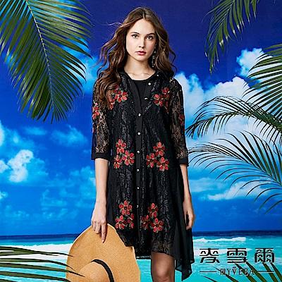 【麥雪爾】刺繡花蕾絲雪紡罩衫