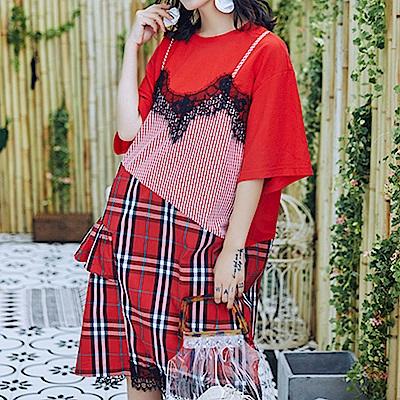 假兩件異材拼接吸睛連身裙-(紅色)Andstyle