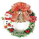 摩達客 台灣製14吋可愛單藤綠色聖誕花圈(紅果雪人款)(台灣手工組裝)(本島免運費)