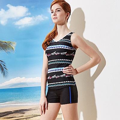 女泳裝二件式背心短褲(T-686藍色)圖騰黑TiNyHouSe