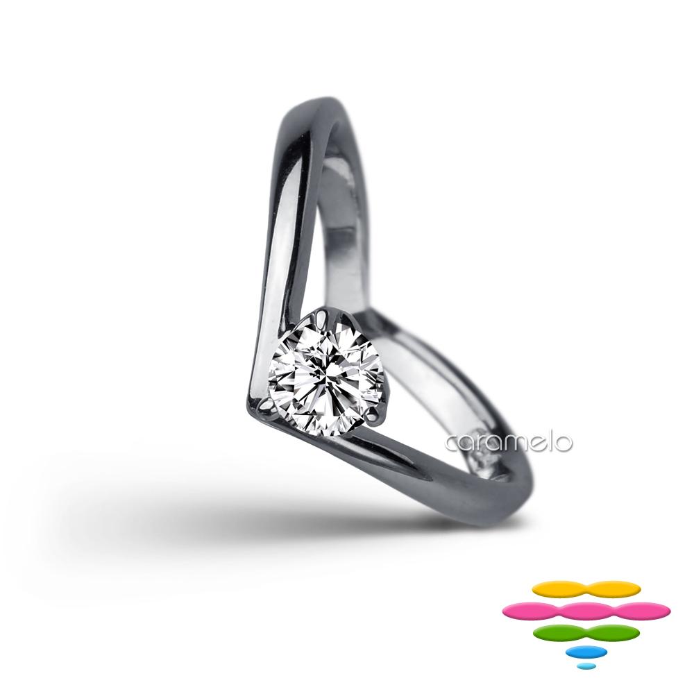 彩糖 GIA 1克拉鑽石 E/SI2 3EX V型鑽戒 18K求婚戒