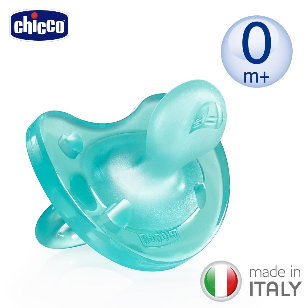 chicco-舒適哺乳-矽膠拇指型安撫奶嘴1入(亮藍/桃紅)-0m+