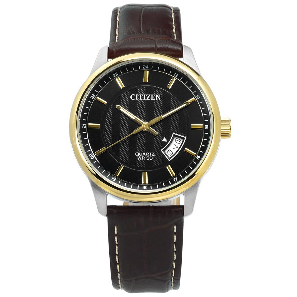 CITIZEN 極簡礦石強化玻璃 日期日本機芯 真皮手錶-黑x金框x深褐/40mm