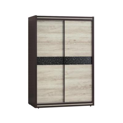 【綠活居】黎巴嫩  現代5尺雙色推門衣櫃/收納櫃-150x56x202cm免組