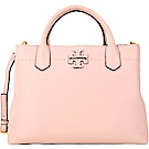 TORY BURCH McGraw 縫線設計荔紋皮革手提肩背包(粉色)